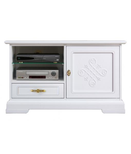 Mueble tv blanco con frisos en madera - Colección You