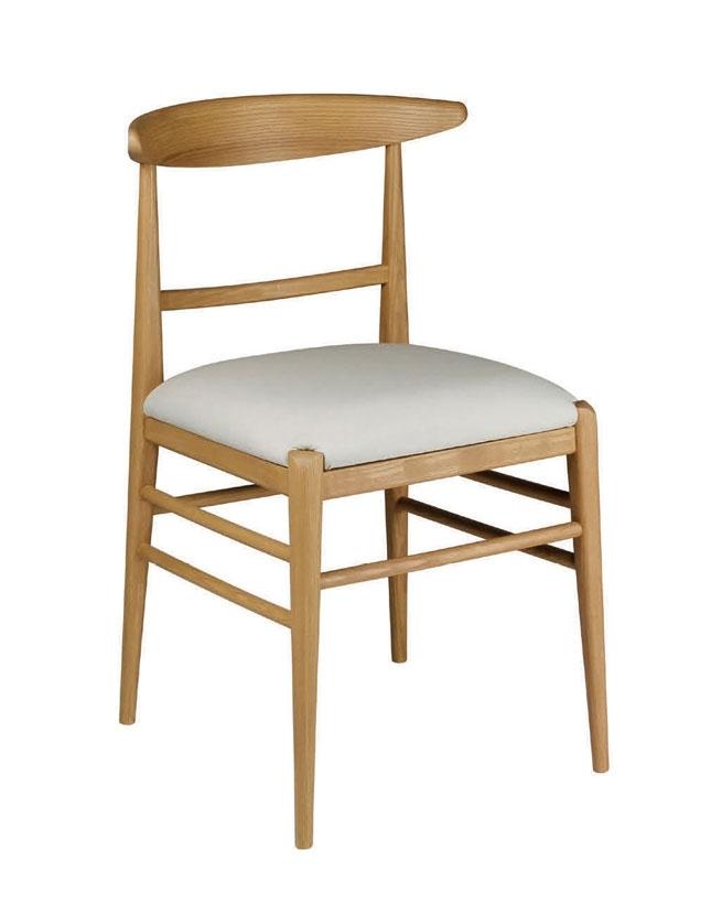 Silla Nature en madera con asiento acolchado