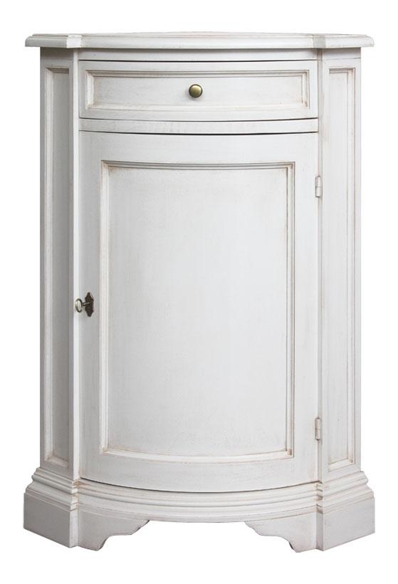 Mueble de esquina laqueado blanco con cajón y puerta