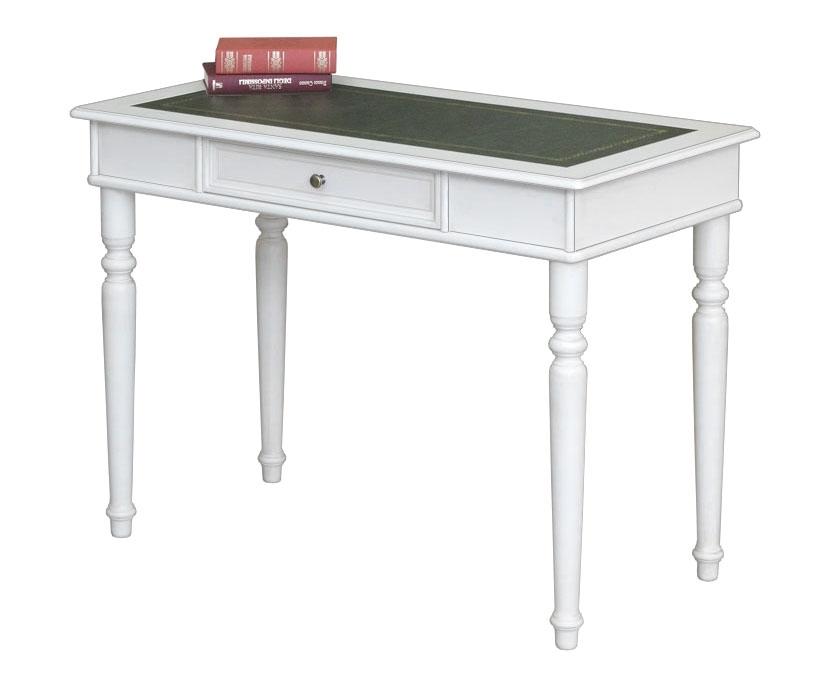 Mesa de despacho laqueada blanca y tablero en cuero