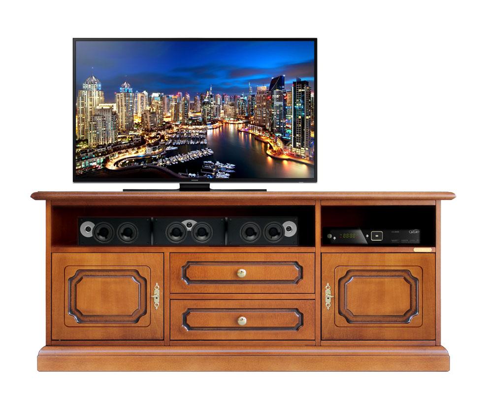 Mueble tv en madera vano central barra de sonido