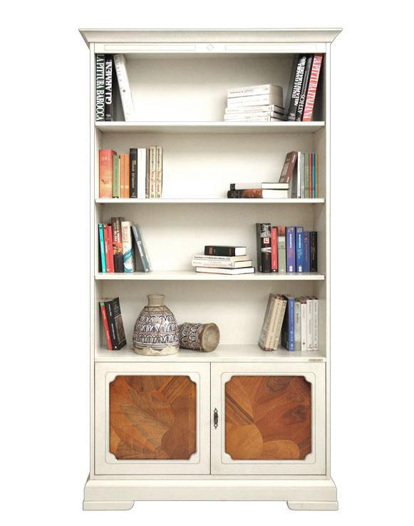 Librería lacada de almacenaje con raíz de nogal