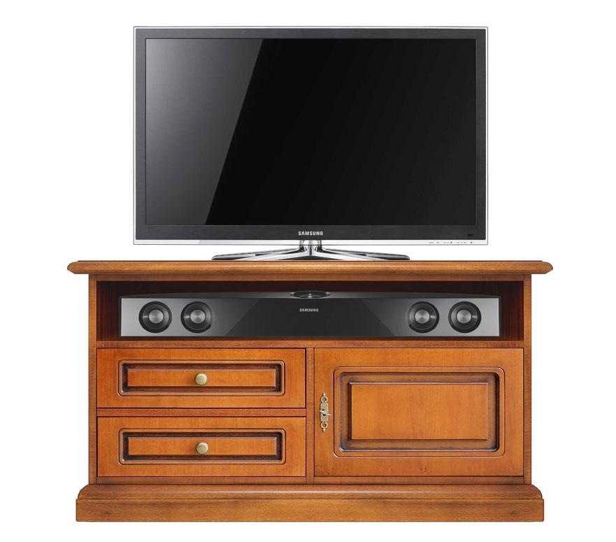 Mueble tv pequeño vano barra de sonido en madera