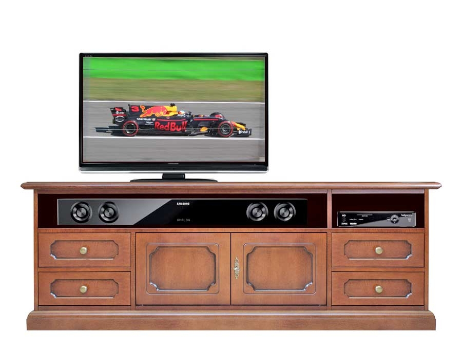 Mueble tv en madera vano barra de sonido central