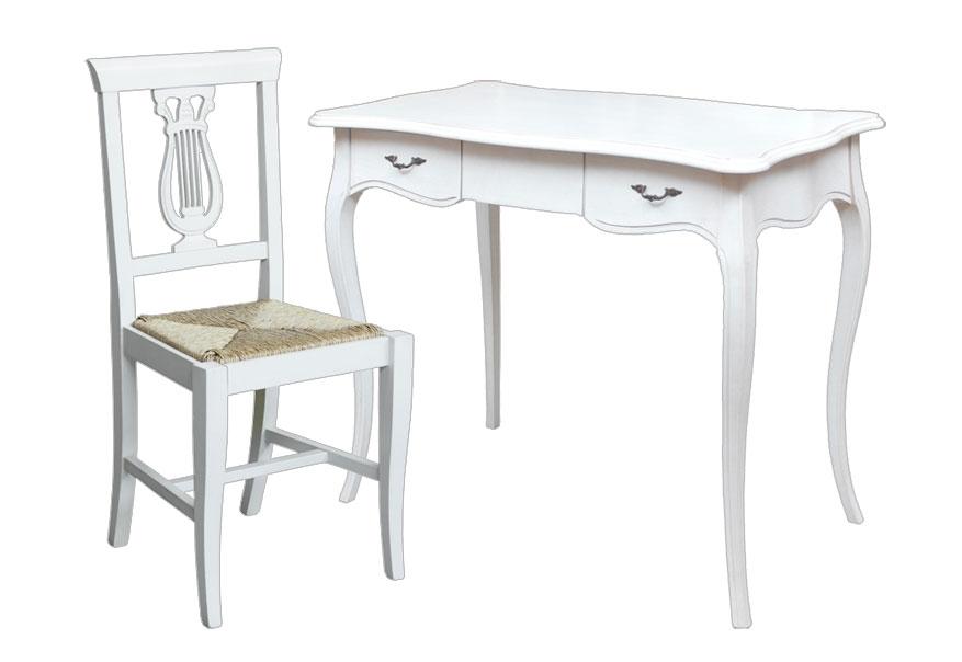 Mesa de despacho patas moldeadas y silla estilo clásico
