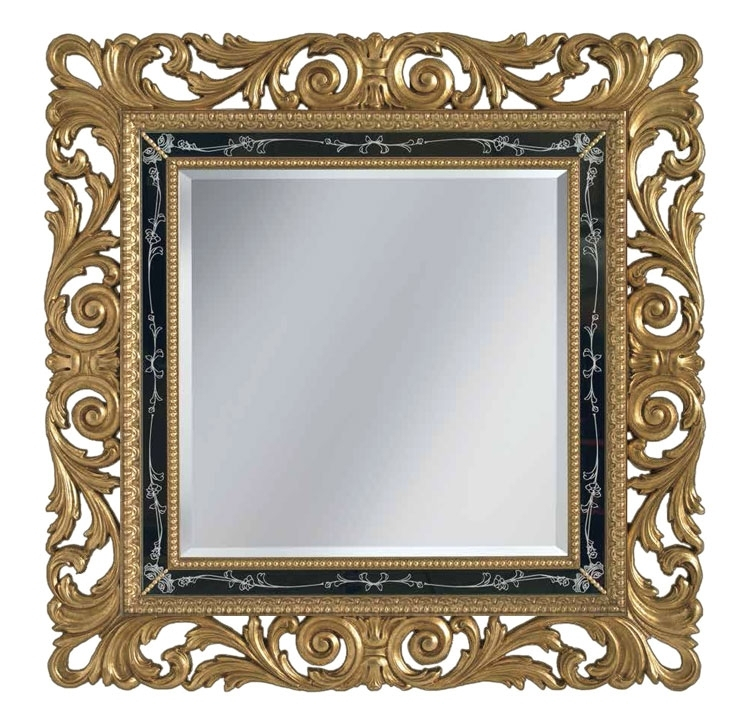 Espejo pan de oro en madera maciza tallada