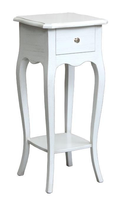 Pedestal laqueado blanco con cajón para maceta