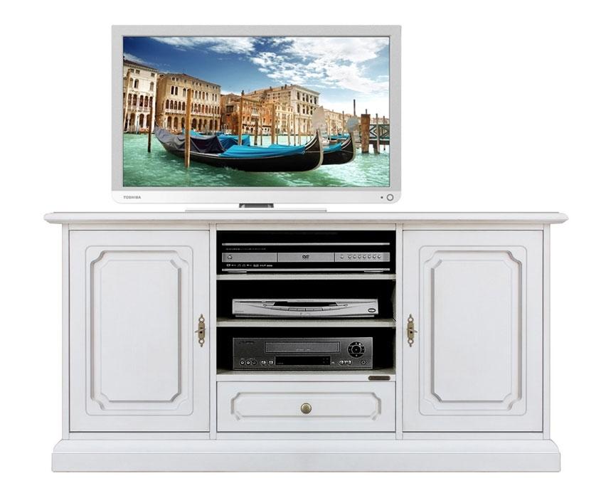 Mueble tv en madera zócalo cerrado 130 cm
