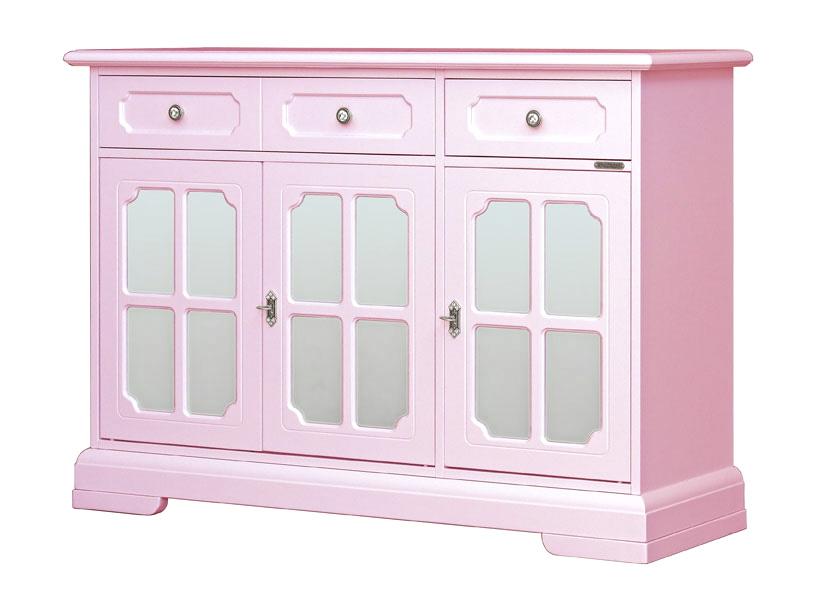 Aparador vitrina lacado rosa peladilla