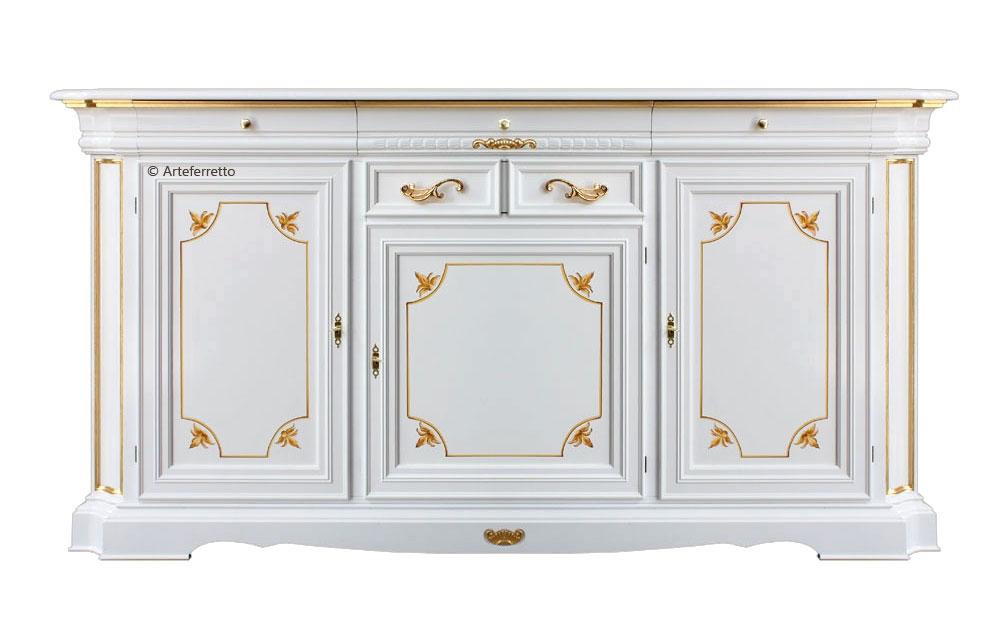 Grande aparador con detalles oro para salón o comedor