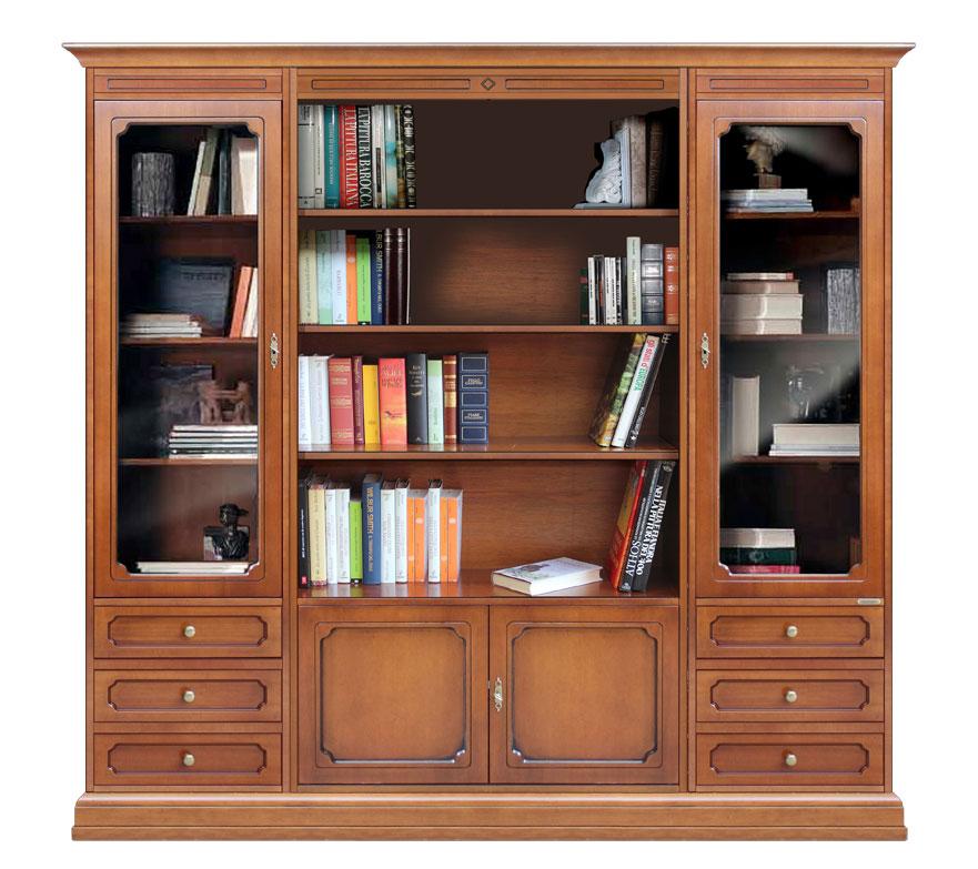 Composición mueble librería para salón en madera