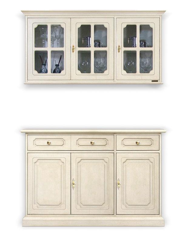 Aparador 3 puertas y aparador de pared laqueados blanco o marfil