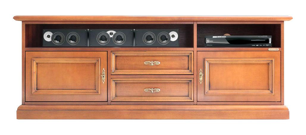 Mueble tv barra de sonido tapas pasacables en el respaldo
