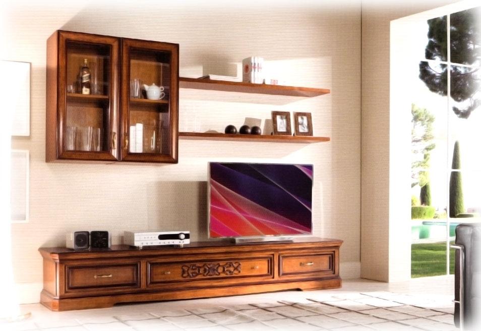 Mueble de tv para pared salón en madera de artesanado