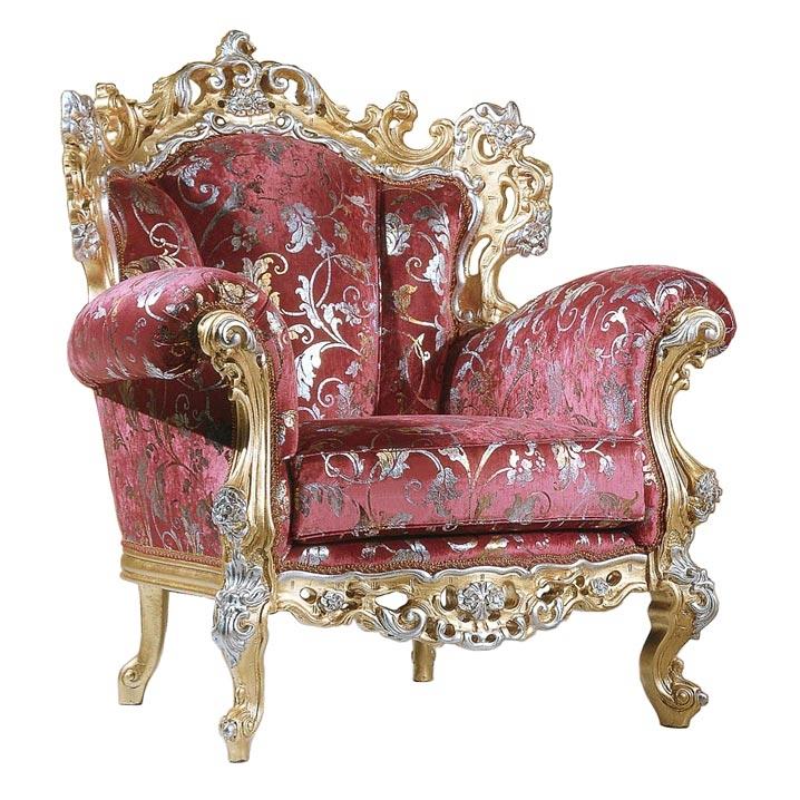 Sillón de lujo Classic King oro y plata