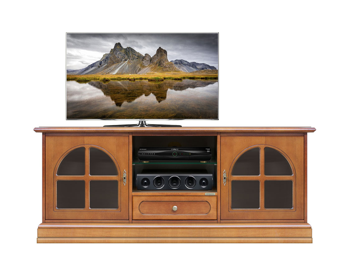 Mueble tv vitrinas laterales y vano central
