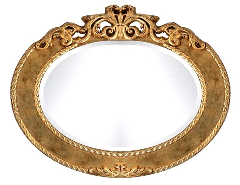 Espejo ovalado con cresta tallada acabado en pan de oro o plata