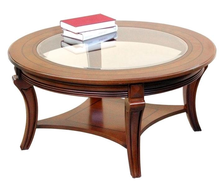 Mesa de centro redonda tablero de vidrio y estante inferior