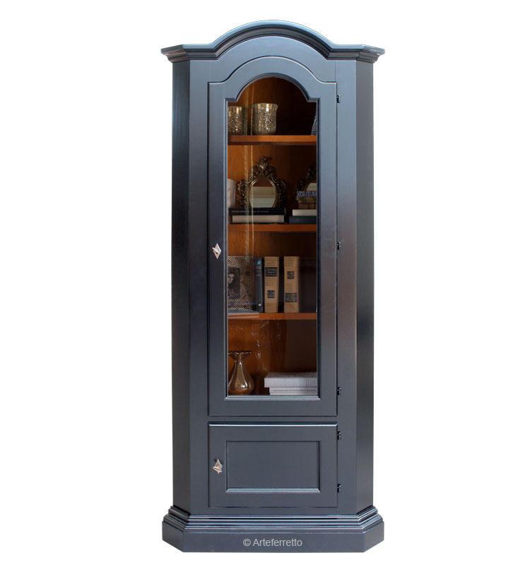 Mueble vitrina de esquina en madera miaciza