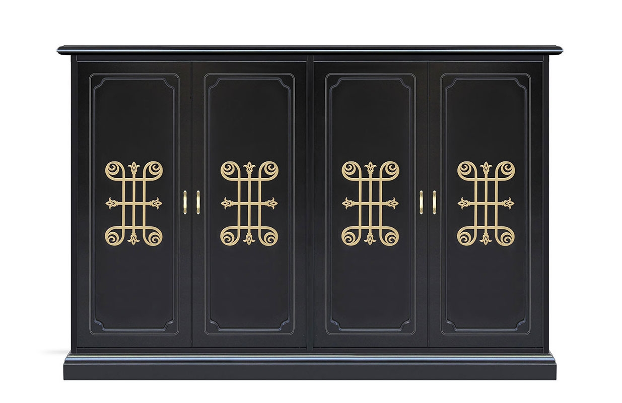 Zapatero largo con puertas decoradas