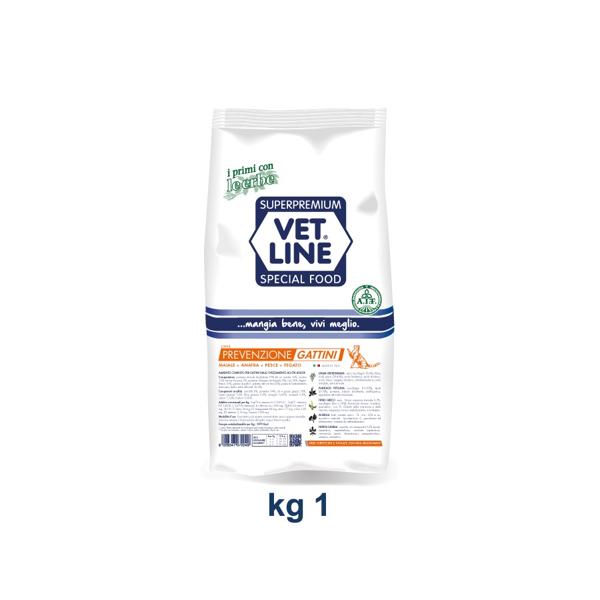 Vet Line Prevenzione Gattini  Maiale Anatra Pesce Fegato 1 kg
