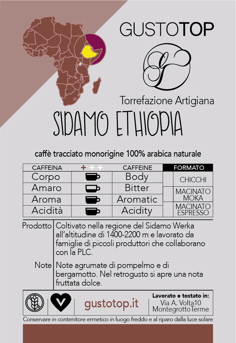 Caffè monorigine in cialda Etiopia Sidamo, confezione da n. 50 cialde in carta ese 44 mm compatibili