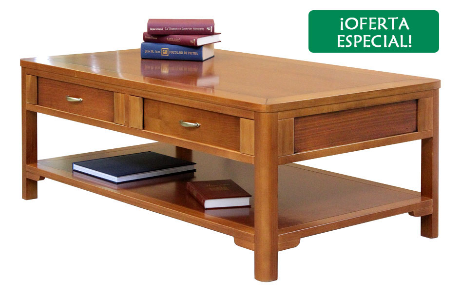 Mesa de centro de madera con estante inferior
