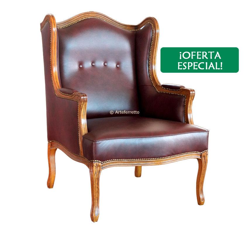 Butaca de salón, madera maciza y cuero - OFERTA
