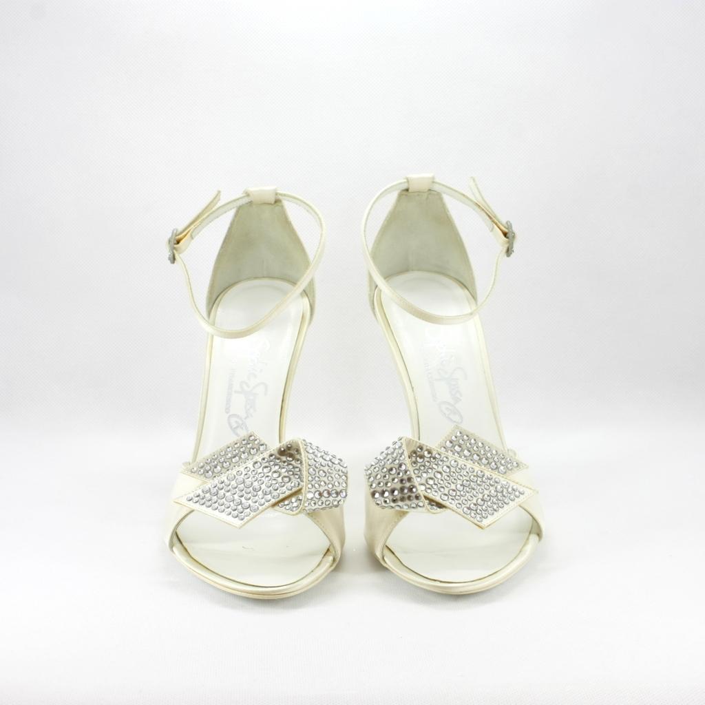 Scarpa cerimonia donna elegante sa sposa in tessuto con applicazione in cristallo svarovsky.