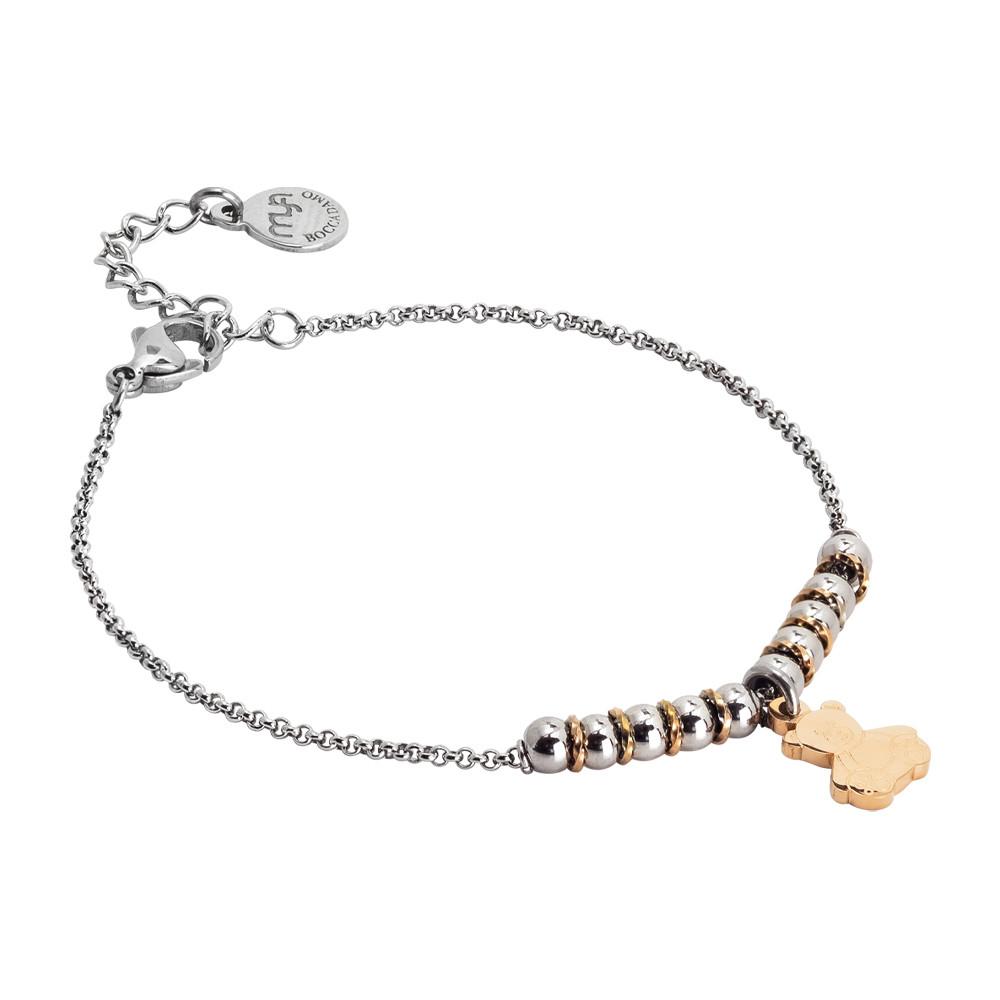 Bracciale morbido con beads centrali e orsetto