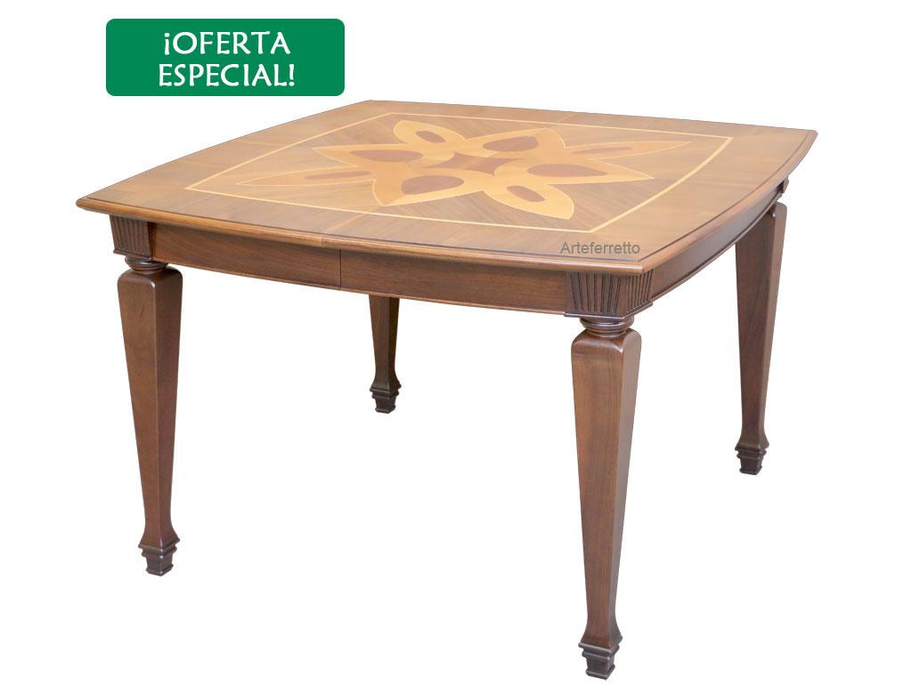 Mesa cuadrada con marqueterías - OFERTA
