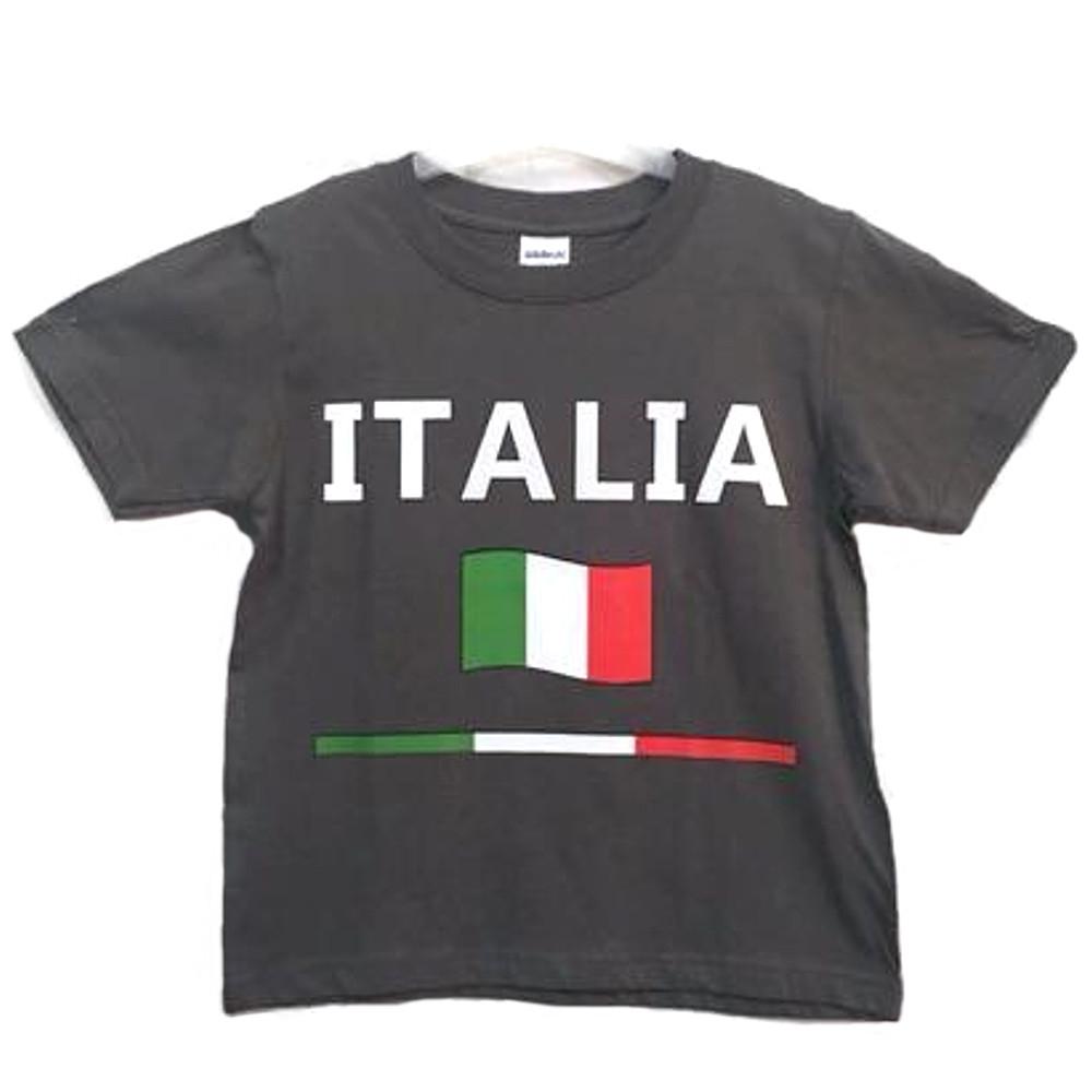 Maglietta taglia 5/6 anni con scritta Italia grigio scuro