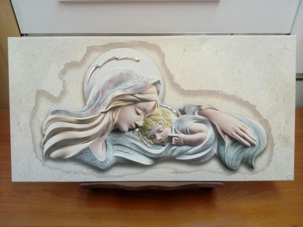 Capoletto-Capezzale sacro su tavola legno raffigurante Madonna con Bambino
