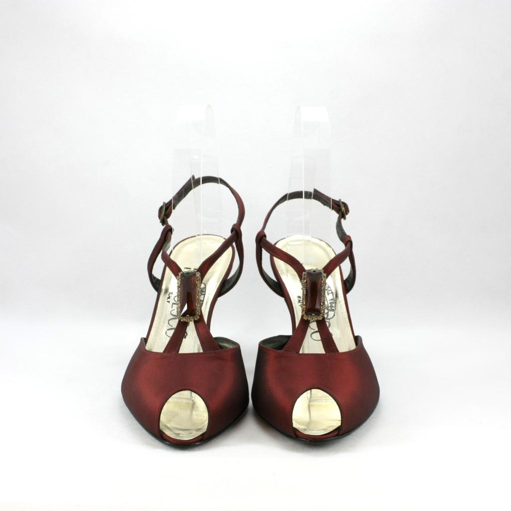 Sandalo cerimonia donna elegante realizzato in tessuto di taffetà con applicazione cristalli Svarovsky.