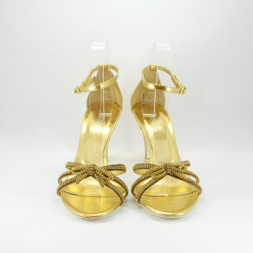 Scarpa gioiello con cristalli Svarovsky donna elegante da sposa e cerimonia oro.