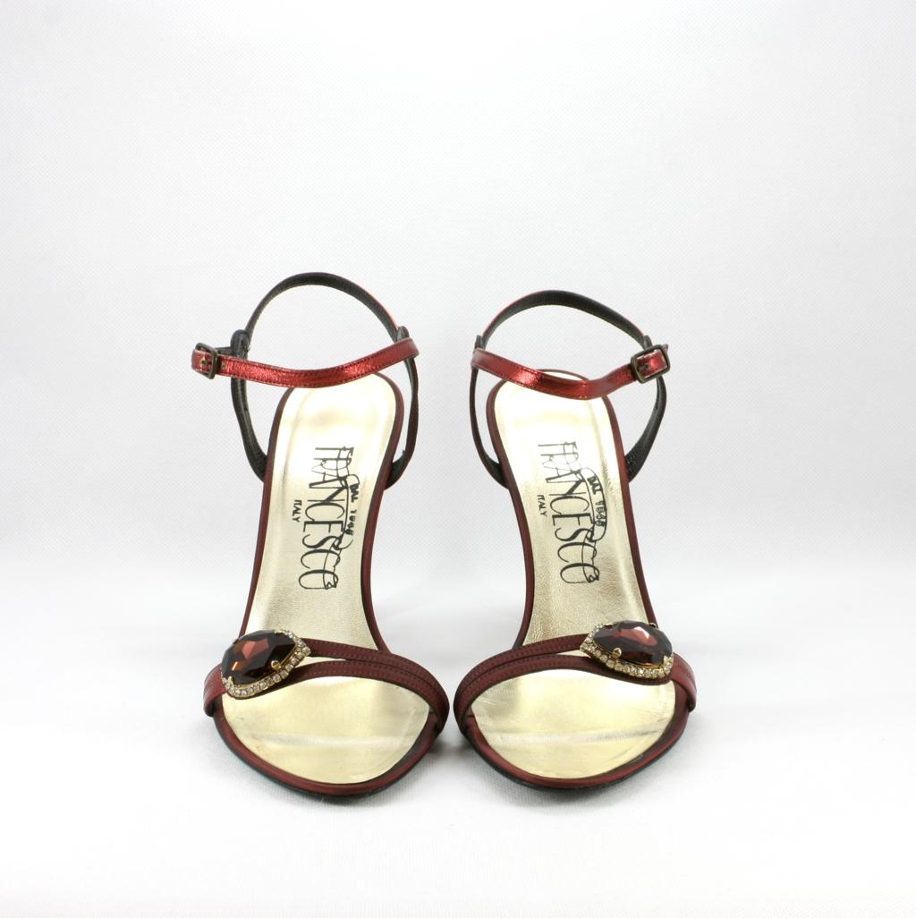Sandalo cerimonia donna elegante in tessuto di tafetà con applicazione cristallo Svarovsky.