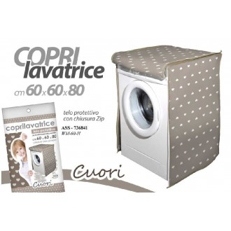 Copri lavatrice in Tessuto Decorato Con Cuori Beige e Bianco Con Chiusura a Zip Abbellire il Bagno