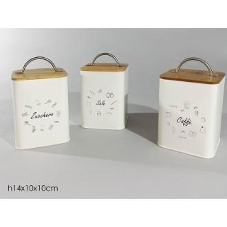Contenitore In Latta Con Manico In Acciaio E Coperchio In Legno Per Zucchero, Caffè, Sale 10x14 cm Contenitori Casa Cucina