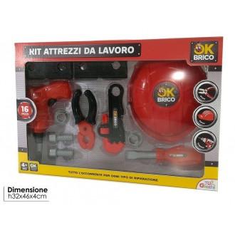General Trade Set Attrezzi 16 Pezzi Rosso e Nero Accessori Con Casco Giravite e Altri Accessori Giocattolo