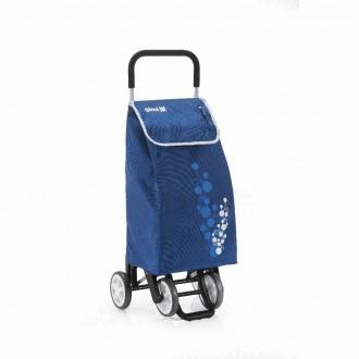 Carrello Da Spesa Twin Colore Blu Con Manico e Ruote Con Chiusura A Strappo Pratico Spesa Funzionale