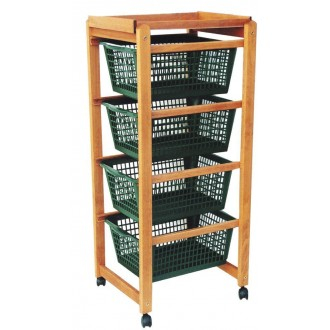 Carrello Salvaspazio Porta Frutta 4 cassetti verde struttura legno