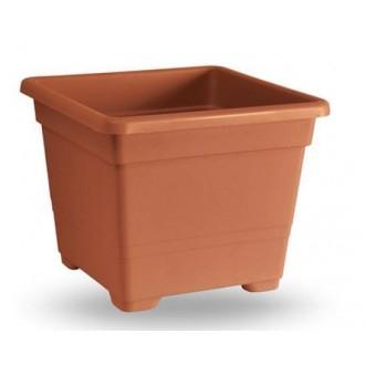 Veca Vaso Quadrato Colore Terracotta 45 cm Per Piante e Fiori Da Giardino