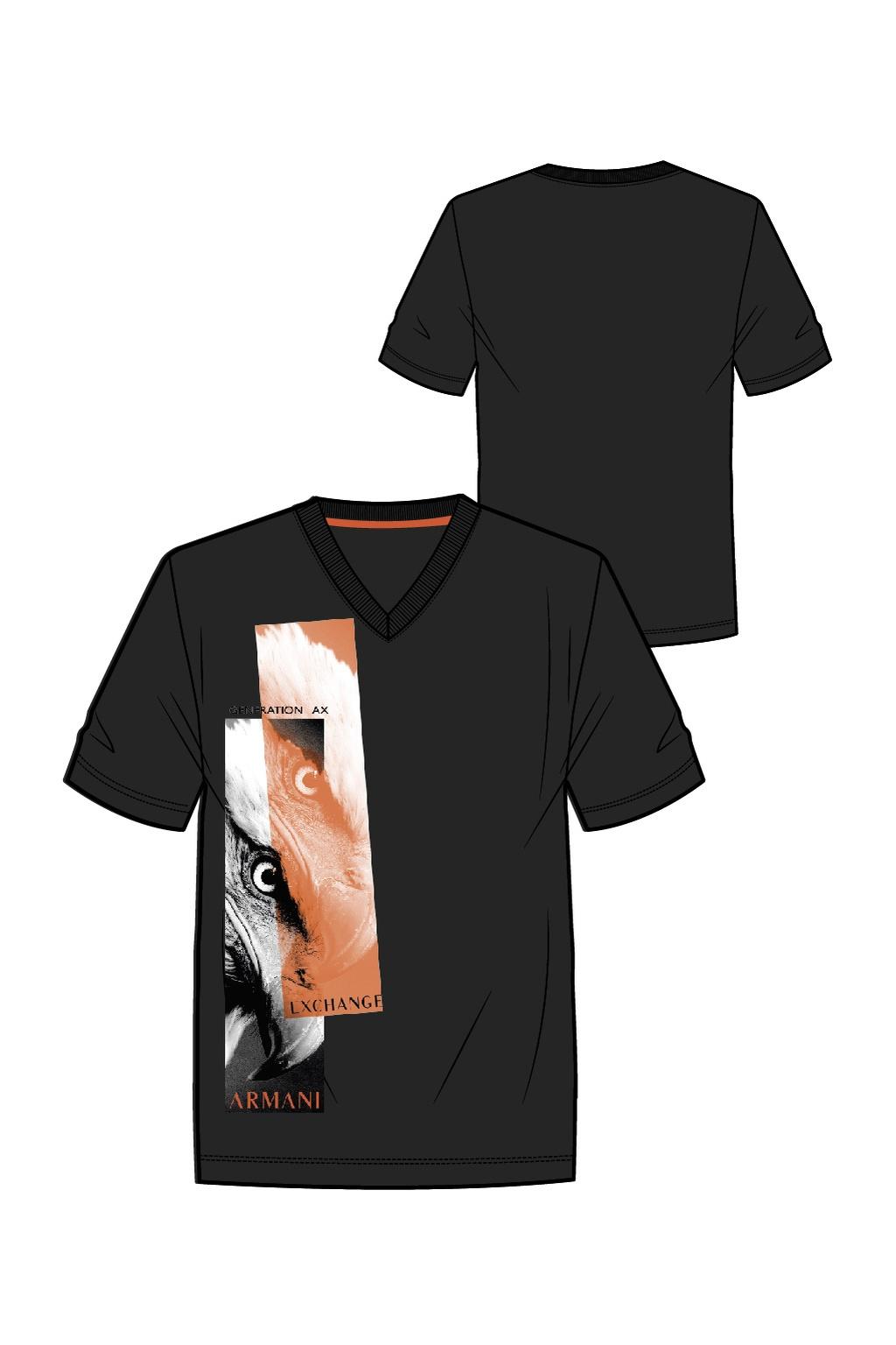 T-shirt manica corta uomo collo v stampa aquila ARMANI EXCHANGE