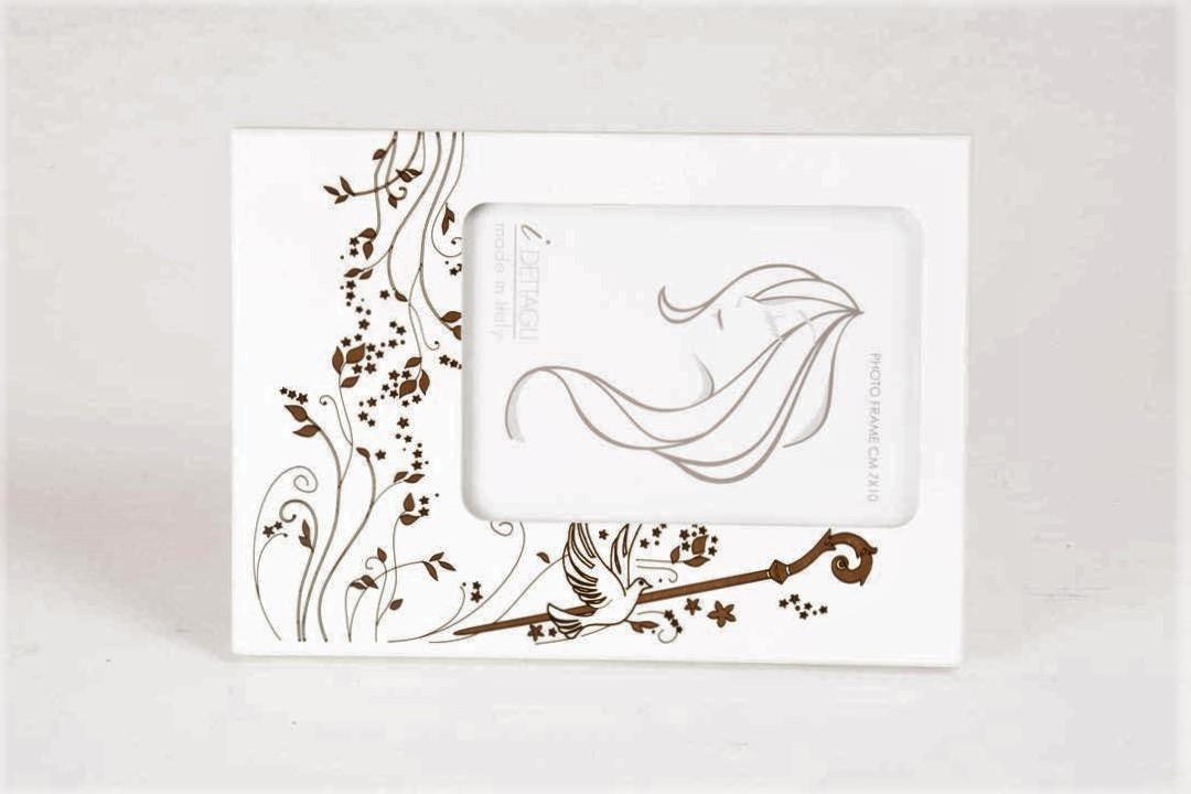 Portafoto (Cresima) Legno Bianco Colomba e Pastorale 7x10 cm