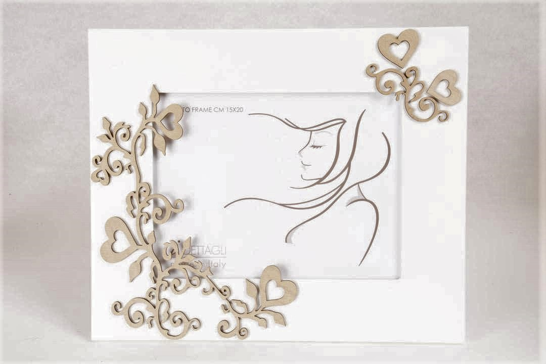 Portafoto Legno Bianco Intrecci 15x20 cm