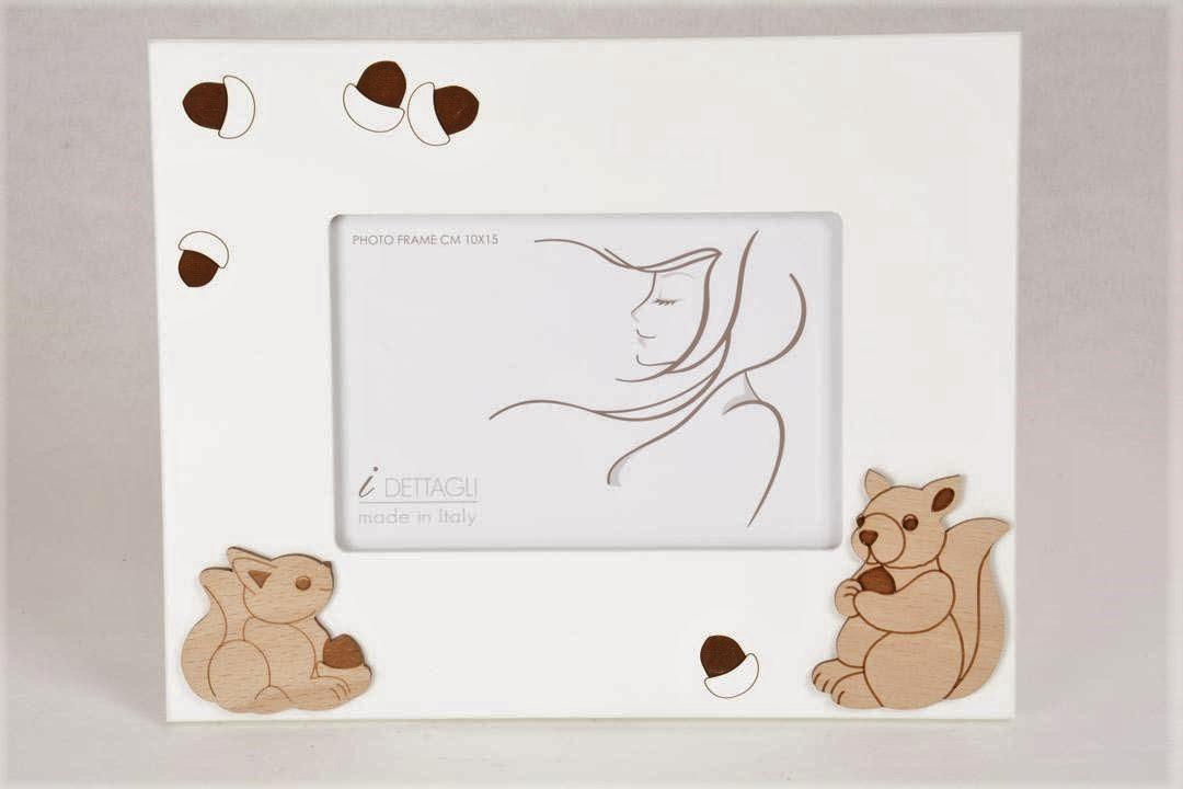 Portafoto Legno Bianco Scoiattoli 10x15 cm