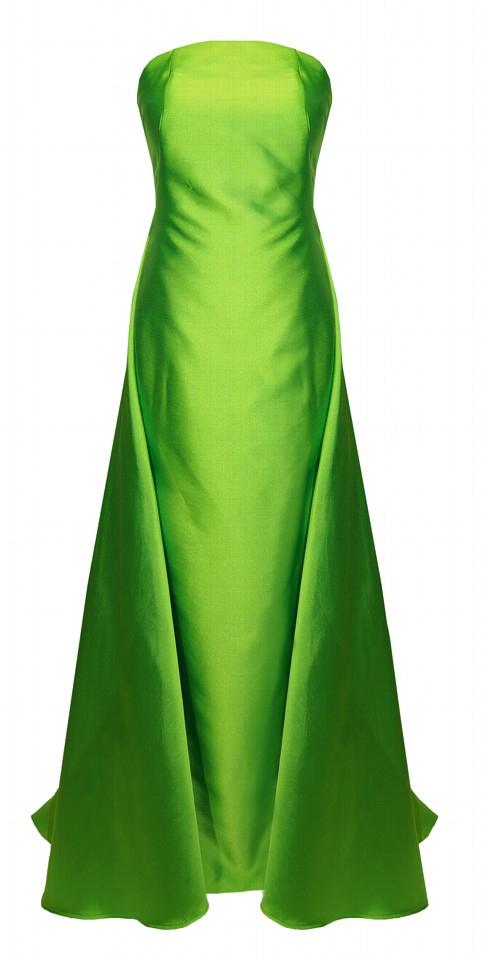 Abito cerimonia donna lungo in mikado color lime.