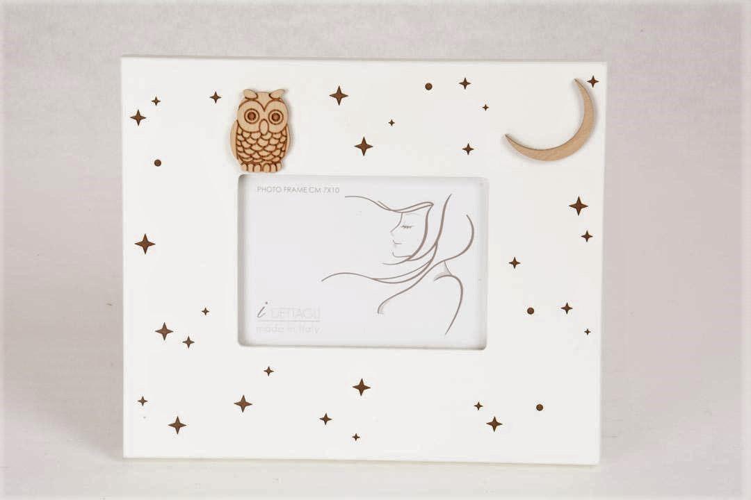 Portafoto Legno Bianco Luna e Gufo Notturno 7x10 cm