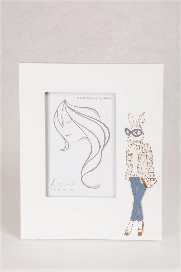 Portafoto Legno Bianco Margot La Coniglietta 10x15 cm