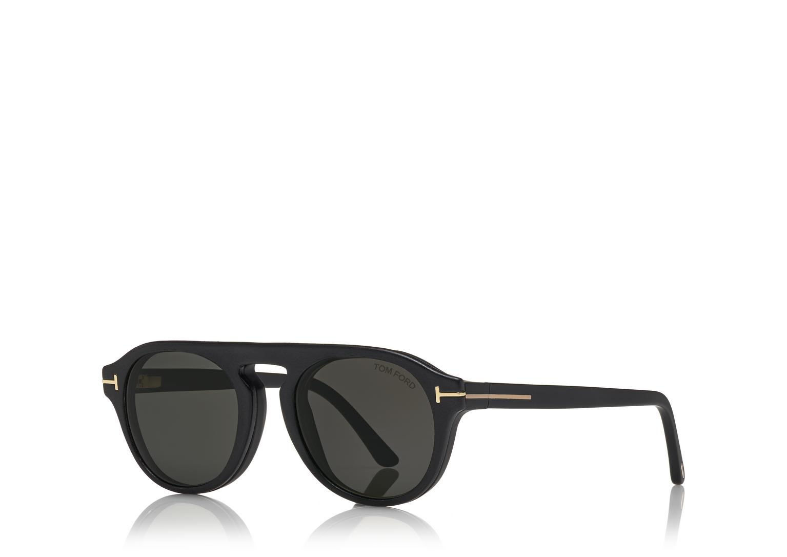 Tom Ford - Occhiale da Sole Uomo, Matte Black/Smoke Grey Shaded FT5533-B  02A  C49